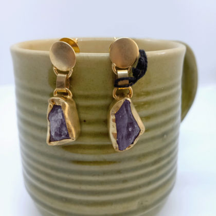 Purple Amethyst Gold Stud