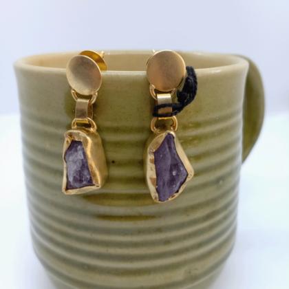 Purple Amethyst Gold Stud